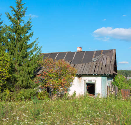 without windows: old house in the grass and forests