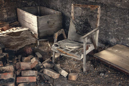abandoned room: Old abandoned room with old things Stock Photo