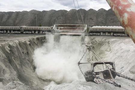 ore: A train transporting asbestos ore