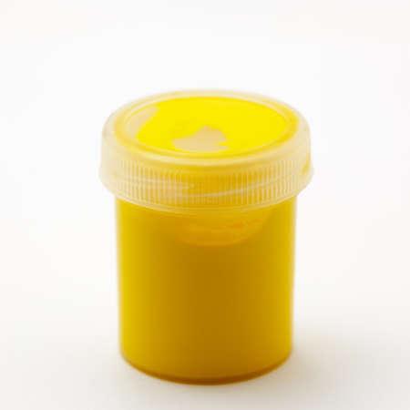 paints: yellow gouache paints Stock Photo