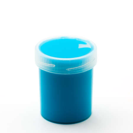 gouache: Turquoise gouache paints Stock Photo