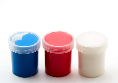 paints: Red, blue, and white gouache paints Stock Photo