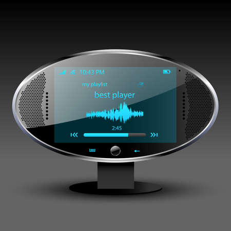 portable player: Media player communication center editable vector file Stock Photo