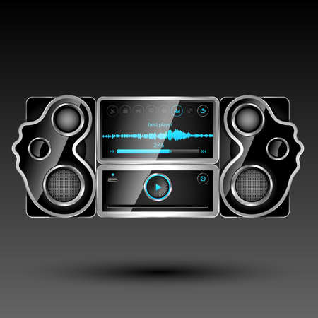 Media player system with big touch screen. illustration  illustration