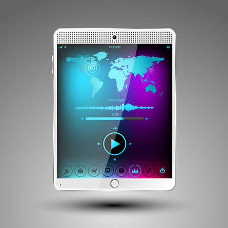 Tablet concept with big touch screen and speaker. illustration  Vector