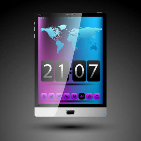 Tablet concept with big touch screen and speaker illustration  Vector