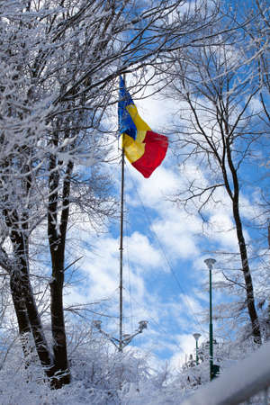 romania flag: Romanian flag on top of the Tampa mountain in Brasov