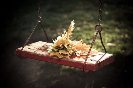 Golden autumn leaves bouquet on a swing seat photo