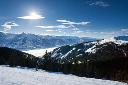 winter with ski slopes of kaprun resort next to kitzsteinhorn peak in austrian alps photo