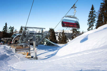 Cable car going to Schmitten ski resort in Zell Am See, Austria photo