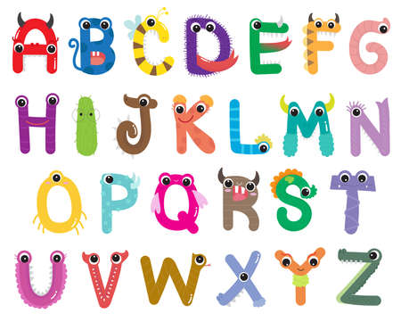 Alphabet Cute Monster Set Ilustrace