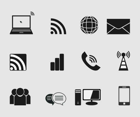 communication icons: Media and communication icons Illustration