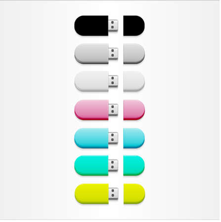 flash memory: A set of colorful flash memory sticks Illustration