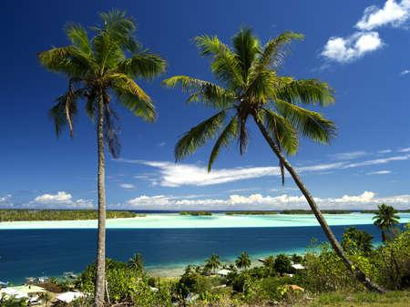 Bora Bora Lagoon, Motus and Main Island in French Polynesia from above. Dreamlike colors. 40 MPixel resolution.