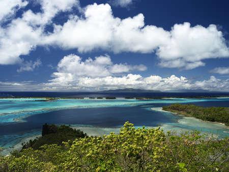 Bora Bora Lagoon with Raiatea and Tahaa in Background From Above on a Sunny Day, 40 MPixel native resolution