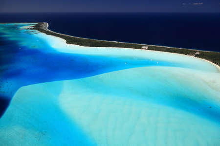 south pacific: Bora Bora Lagoon, French Polynesia from above. Dreamlike colors.