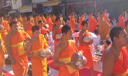 tradition: Songkla, Thailand - Aug 18, 2013 : Tradition, the monks of merit.