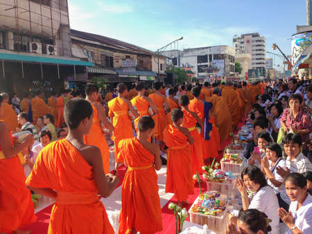 ordinate: Songkla, Thailand - Aug 18, 2013 : Tradition, the monks of merit.