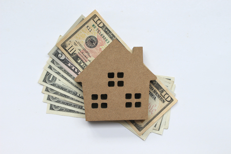 Mortgage loan and Dollar money property for concept with copy space.