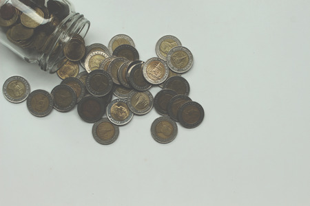 silver coins: Saving the Coins of thailand on a white background.