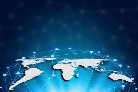World map on a technology background, glowing lines connected, global network and global communication. Internet Concept of global business.