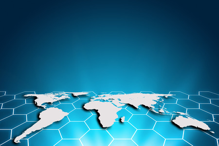 World map on a technology hexagon background, glowing hexagon lines connected, global network and global communication. Internet Concept of global business.