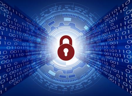 사이버 보안 데이터 보호 비즈니스 기술 개인 정보 보호 개념, 원 및 디지털 기술 배경, 추상 기술 개념 배경, 벡터 일러스트 레이 션.