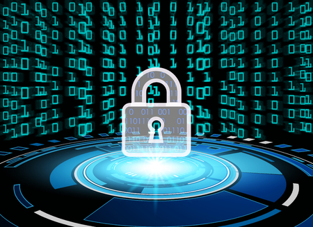 processors: Cyber Security Data Protection Business Technology Privacy concept, key lock and circle digital technology pattern, abstract technology concept pattern, vector illustration.