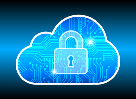 Abstract security cloud technology background, key lock and could technology background, Vector Illustration.