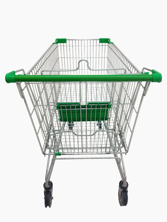 Shopping cart view in Supermarket on white background.