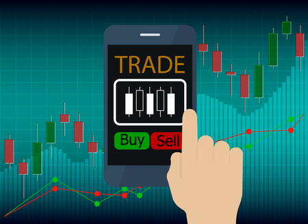 hand use tablet with Trading Online and icon on screen, Digital business concept. Illustration