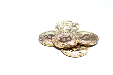 bitcoin and blockchain digital technology on a white background, currency blockchain technology concept