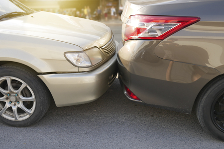 car crash accident on the road, car accident for insurance claim. Stockfoto