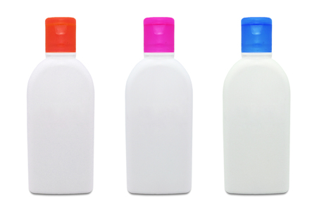 set of cosmetic mock up plastic bottles isolated on a white background. Фото со стока