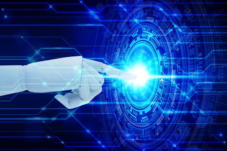 Robot hand touching virtual screen technology, Artificial Intelligence Technology Concept Stock Photo