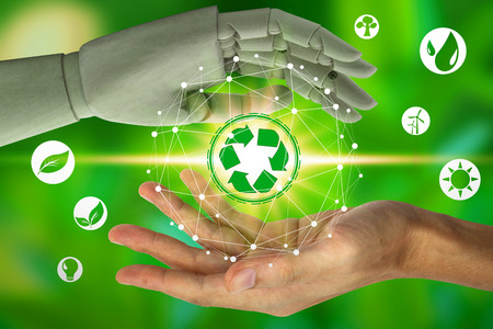 Robot hand protect and human hand holding with virtual environment icons over the network connection on nature background, Artificial Intelligence and Technology ecology concept