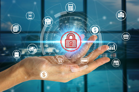 Hand holding with virtual padlock icon over the Network connection, Cyber Security Data Protection Business Technology Privacy concept. Фото со стока