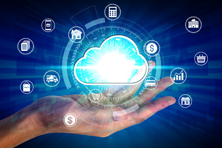 Hand holding with virtual cloud computing icon over the Network connection, Cyber Security Data Protection Business Technology Privacy concept.
