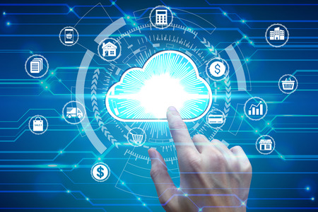 Finger touch with virtual cloud computing icon over the Network connection, Cyber Security Data Protection Business Technology Privacy concept. Фото со стока