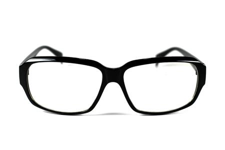 Black eyeglasses isolated on white background, Close up black eyeglasses.
