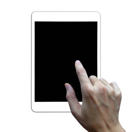 Nahaufnahmehand mit Tablet auf weißem Hintergrund.
