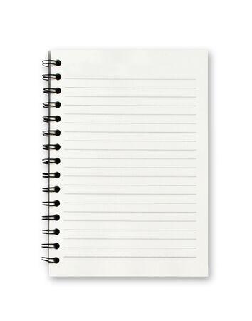 Cuaderno en blanco sobre fondo blanco.