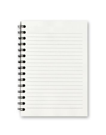 Leeres Notizbuch auf weißem Hintergrund.