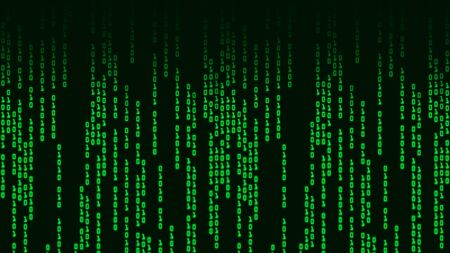 Binary code with digits moving on screen on back background.