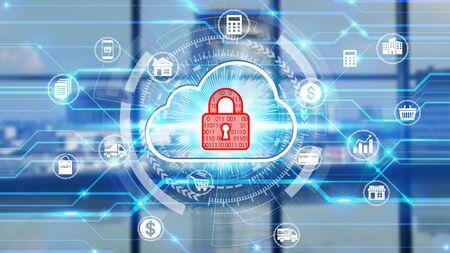 Businessman Touch-Netzwerk mit Vorhängeschloss-Symboltechnologie mit virtuellen Bildschirmsymbolen, Business Technology Privacy Concept, Internet Concept of Global Business.