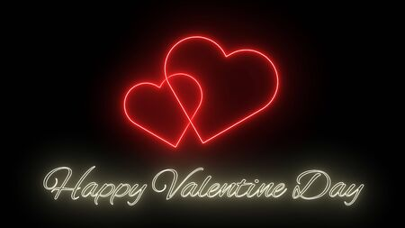 Happy Valentine Day and hearts on a black background. Valentine's day concept