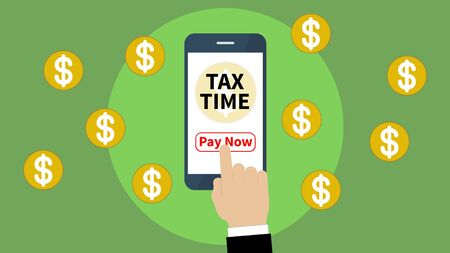 tax time with smartphone application and use for tax pay.