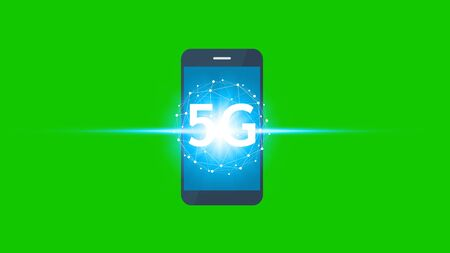 hand use smartphone network using 5G technology on a green screen background, Technology Internet 5G global network concept.