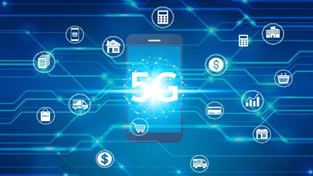hand use smartphone network using 5G technology with virtual screen icons, Technology Internet 5G global network concept. Standard-Bild