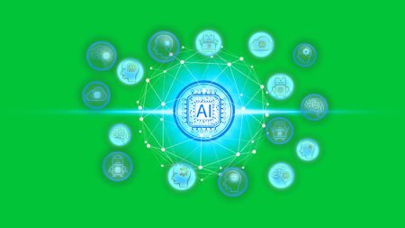 Artificial Intelligence (AI) technology icon over the Network connection on a green screen background, Artificial Intelligence Technology Concept